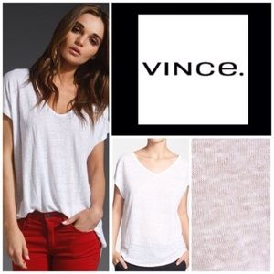 Vince White Slouchy Linen Tee